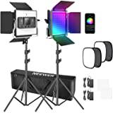 Neewer 2 Packs 480 RGB Led Light with APP Control, Photography Video Lighting Kit with Stands and Softbox, 480 SMD LEDs CRI97