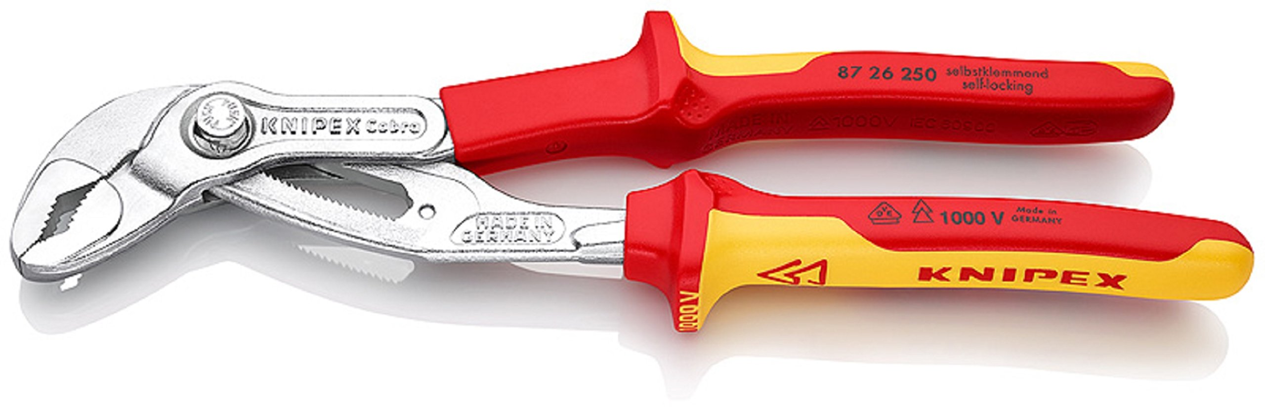 87 26 250 T BK Water Pump Pliers ''Cobra VDE'' 9, 84'' with Tether Attachment Pt. In Blister Packaging