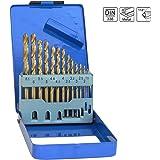 S&R Juego de brocas para metal Set 1- 6,5 mm ,13 Estuco 118 °, serie TM DIN 338, pulido, HSS TITANIUM Acero, Recubrimiento de nitrito de titanio, caja de metal, de calidad profesional