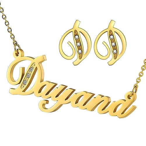 Acero inoxidable Adisaer collar nombre Dayana pendientes ...