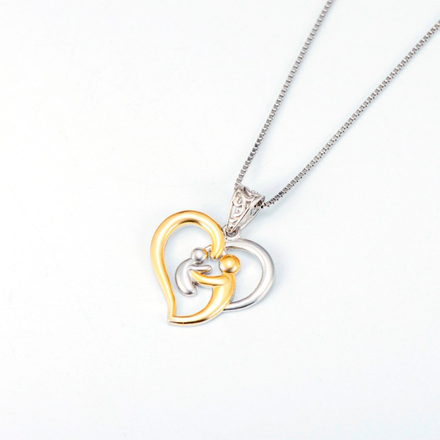 EverReena 925 Sterling Silver Necklace Mother Hold Child Love Heart Chain Pendant