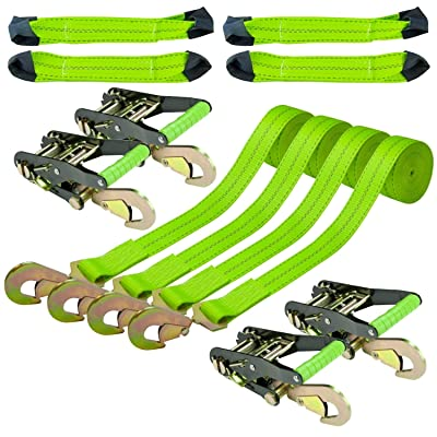 VULCAN 8-Point Vehicle Tie Down Kit with Snap Hooks On Both Ends, Set of 4 - Reflective High-Viz: Automotive