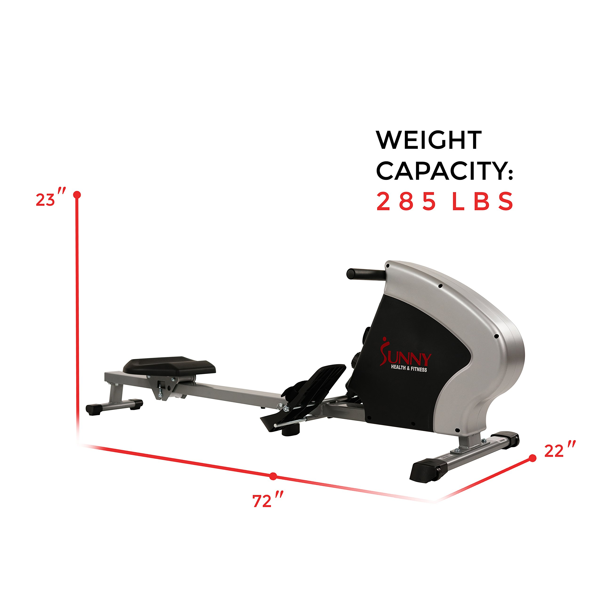 Sunny Health & Fitness Compact Folding Magnetic Rowing Machine Rower, LCD Monitor with Tablet Holder - Synergy Power Motion - SF-RW5801 by Sunny Health & Fitness (Image #17)