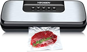 Vacuum Sealer Machine - Automatic Food Sealer for Food Saver with Dry Moist Food Modes, Compact Design, Easy to Use, Lab Tested, Starter Kit with Roll, Bags and Hose (Silver)