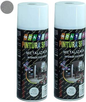 Montoro - Pack de 2 botes de pintura en spray Plata M303 400 ml ...