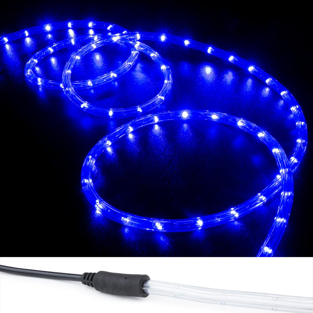 WYZworks 100 ft Blue PRE-Assembled LED Rope Lights - 2 Wire Christmas Holiday Decoration Indoor/Outdoor Lighting | UL Certified