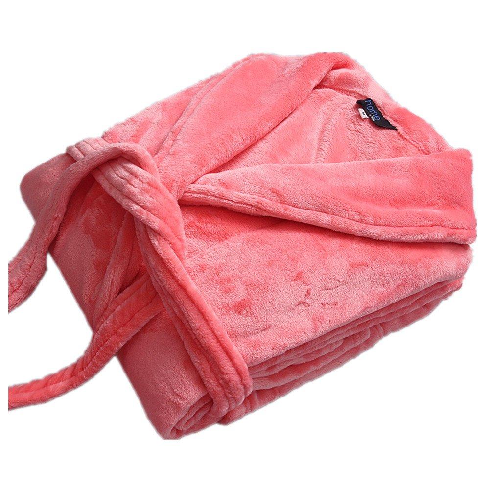 Super Soft Lengthen Thicker Flannel Unisex Bathrobe Dressing Gown Sauna Coat AVGe