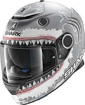 Shark - Casco integral Spartan réplica del de Lorenzo - Color negro y blanco antracita -