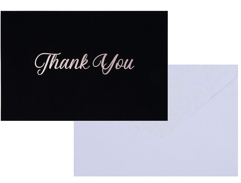 Thank Youカード - 100枚パック プレミアムサンキューグリーティングカードと封筒 ステーショナリーセット 結婚式 誕生日 ビジネス ローズゴールド箔プリント ベルベットソフトタッチ仕上げ 4 x 6インチ B07FQ7JYXC