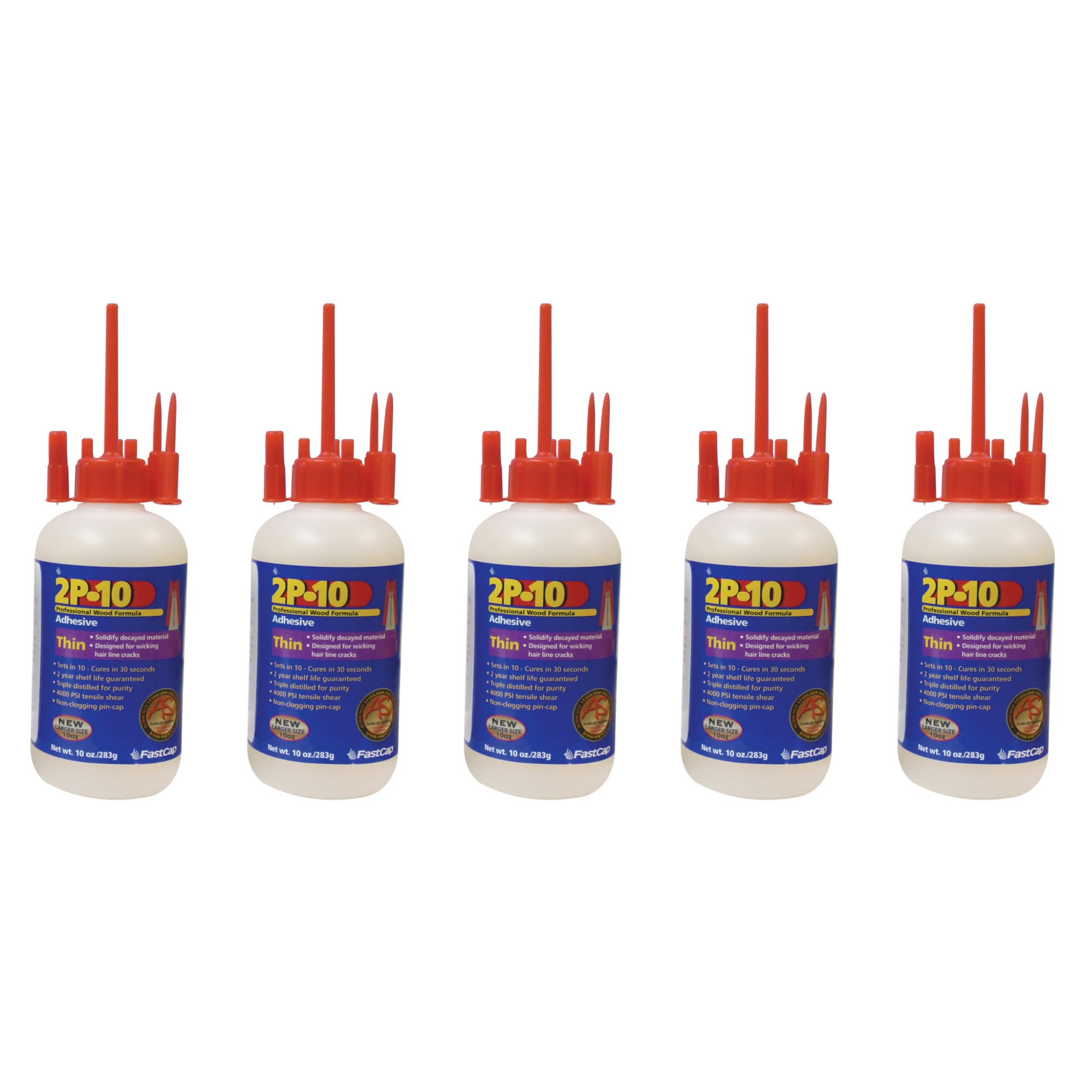 FastCap 2P-10 Professional Thin 10 oz Wood Formula Super Glue Adhesive, 5-Pack