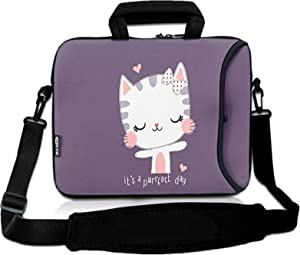 RICHEN 11 11.6 12 12.5 13 inches Case Laptop/Chromebook/Ultrabook/MacBook pro air Notebook PC Messenger Bag Tablet Travel Case Neoprene Handle Sleeve with Shoulder (11-13.3 inch, Cute Cat)