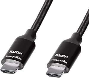 AmazonBasics Premium High-Speed 4K Long HDMI Cable with Braided Cord, Black - 15 Feet