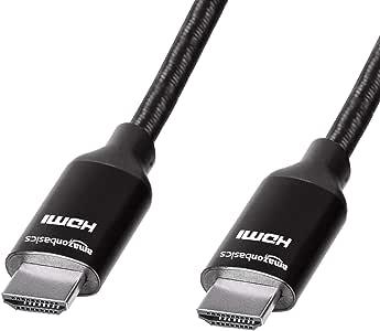 AmazonBasics - Cable HDMI trenzado de alta velocidad, negro, de 0 ...