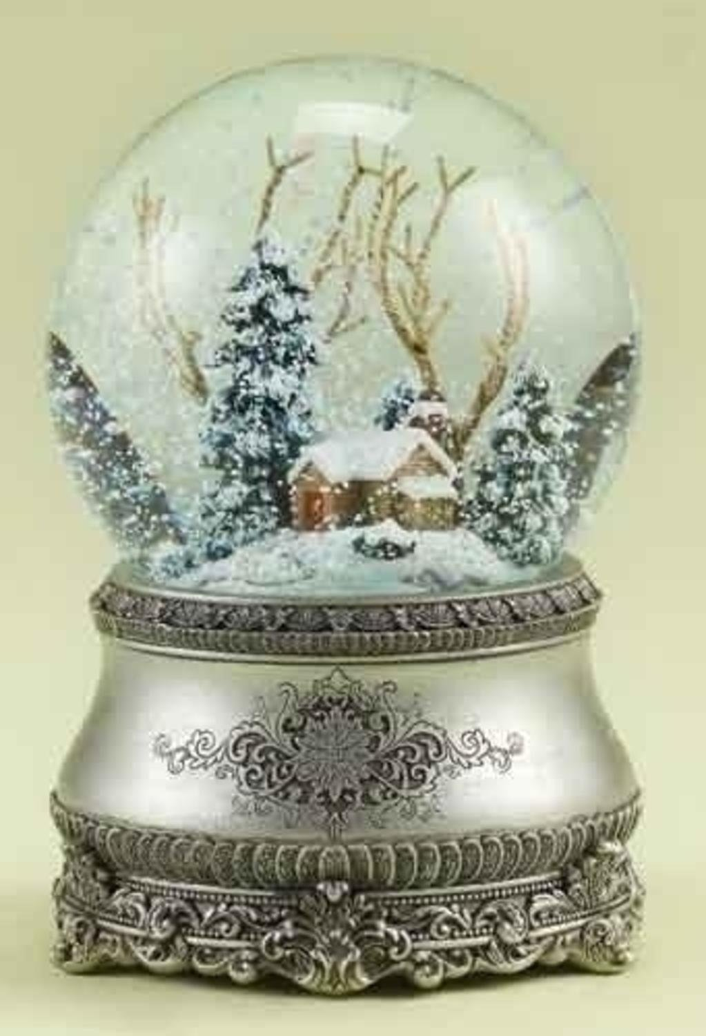 "5.5"" Musical Vintage-Style Winter Cottage Christmas Snow Globe Glitterdome Roman"