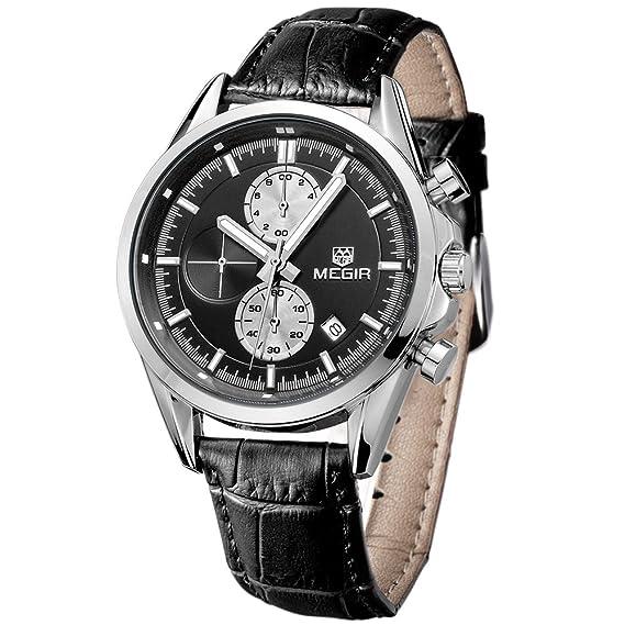 Casual para Hombre MEGIR de cuarzo Relojes correa de cuero negro reloj con Relojes Hombre cronógrafo
