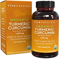 Organic Turmeric Curcumin Supplements with Black Pepper for Better Absorption |...