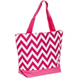 "Womens Polyester 17"" Chevron Large Travel Tote Bag (Pink & White)"