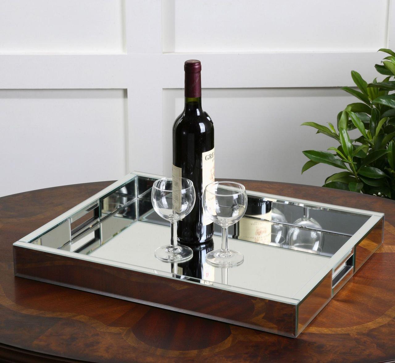 Amazon.com: Modern Mirrored Glass Serving Tray | Decorative Bar Handles:  Home & Kitchen - Amazon.com: Modern Mirrored Glass Serving Tray Decorative Bar