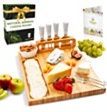 Bamboo Cheese Board and Knife Set, Charcuterie Board Set Large (14 x 11 inch) includes Ceramic Bowl, Serving Forks…