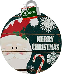 Christmas House Hanging Ornament-Shaped Merry Christmas Santa Sign 10.25 in.