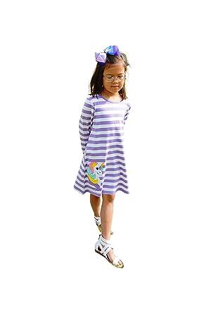 538447479673 Dana Kids Girls Back to School Unicorn Applique Purple Stripe Knit Dress 2T  -10Y (