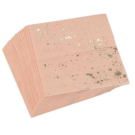 REFURBISHHOUSE Juego de vajilla desechable con Textura de marmol Rosa de Bloqueo del Oro Servilletas de