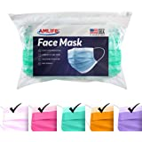 AMLIFE Face Masks Multi Color [50 Pieces Pack] Disposable Protective 3-Ply Filter - Made in USA with Imported Fabric…