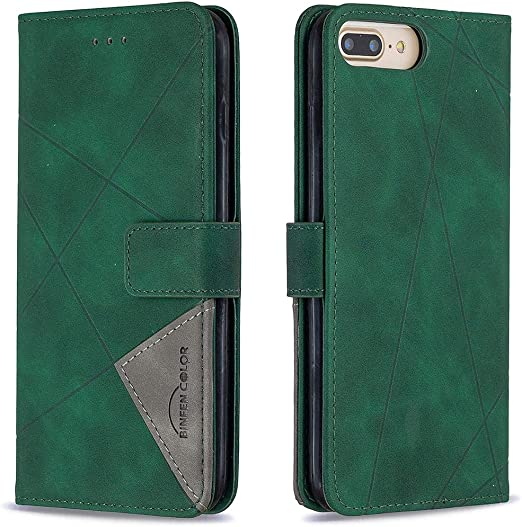 Docrax iPhone 7 Plus/iPhone 8 Plus ケース 手帳型 スタンド機能 財布型 カードポケット マグネット アイフォン7Plus / 8Plus 手帳型ケース レザーケース カバー - DOBFE220028 緑
