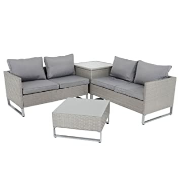Azuma Grey Rattan Garden Corner Sofa Set Seville 2x2 Seater Couch Glass Top Side Table Coffee Table Patio Conservatory Furniture