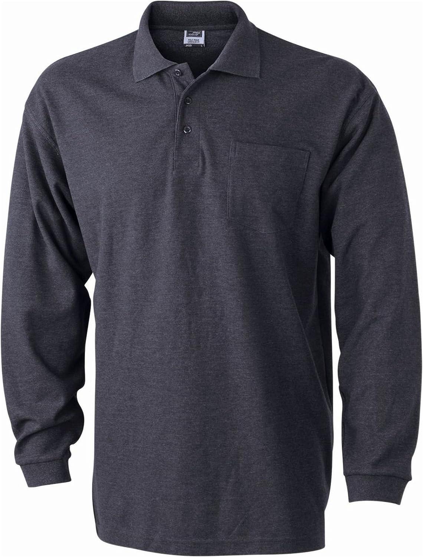 Camiseta Polo piqué Hombre Mangas largas con Bolsillo Pecho ...