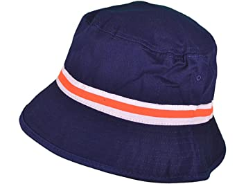 b97b1319a88 New Navy   Orange Bucket Hat Cap Sz M L Polo Stripe Plain Adult ...