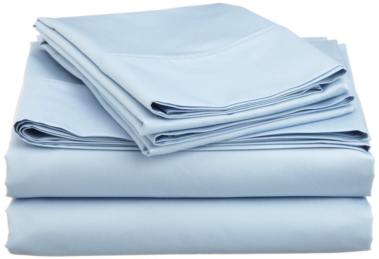 SRP Linen Mercantile Pvt Queen Premium Quality Luxurious Sheet Set--100/% Egyptian Cotton-- 24 Deep Pocket Light Blue Solid Ltd