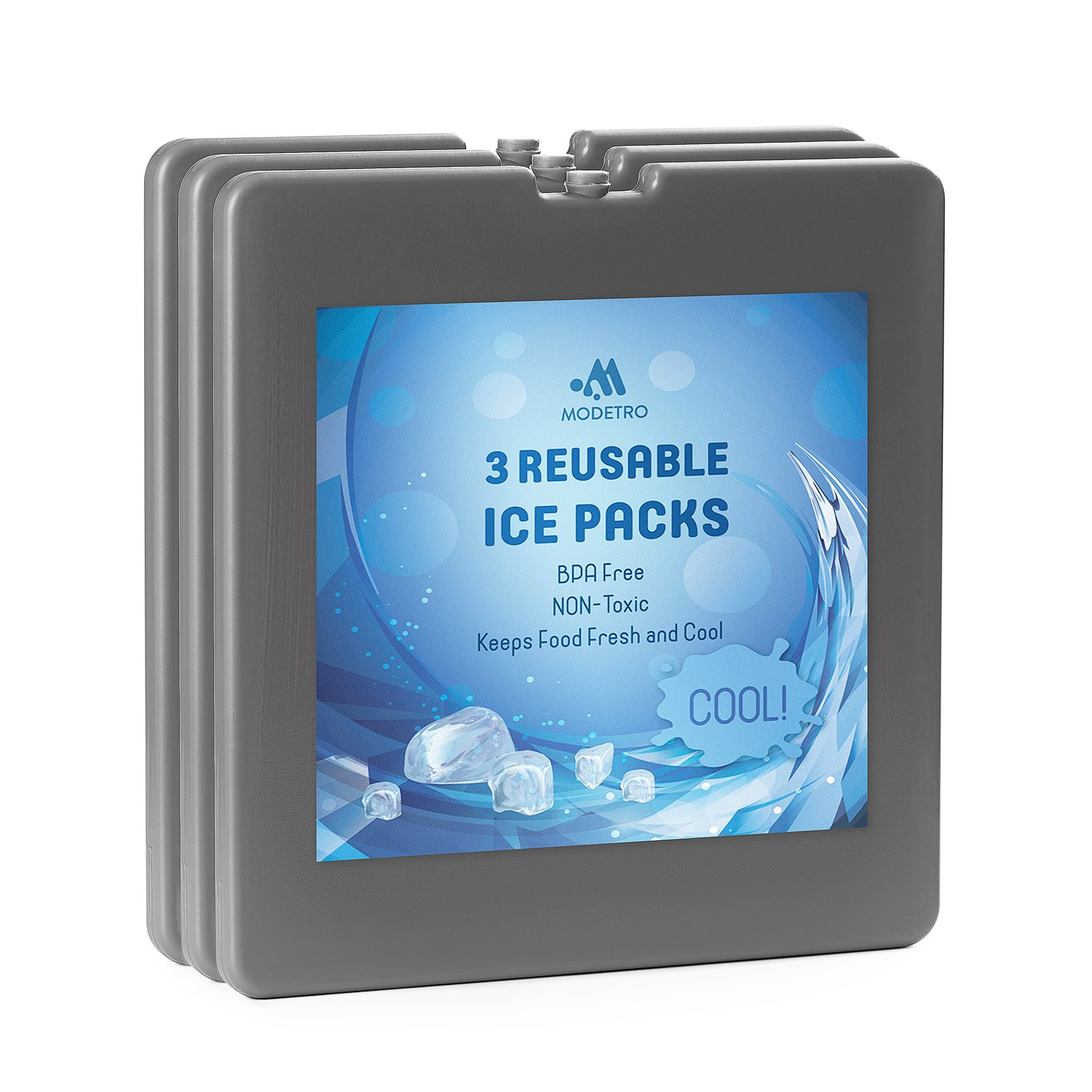 Modetro Ice Pack - Reusable Ice Pack for Coolers, Lunch Boxes, or Thermal Freeze Bags - BPA Free Lunchbox Heavy Duty Cold Pack - Re-Freezable Ultra Slim Long Lasting Ice Pack - Square - 19 cm per side