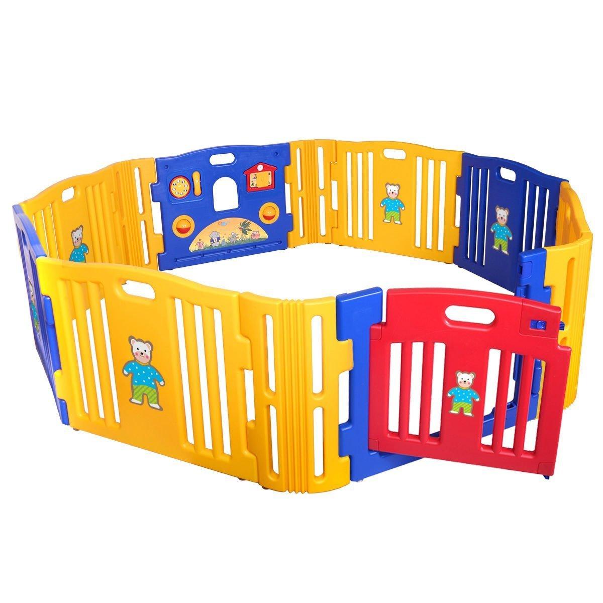 Renewed New Baby Playpen Kids 8 Panel Safety Play Center Yard Home Indoor Outdoor Pen