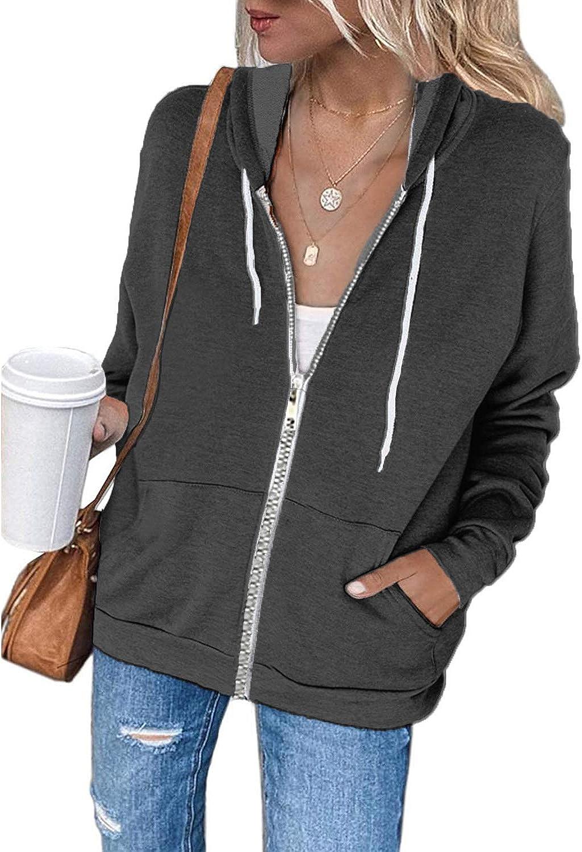 OURS Womens Tie Dye Long Sleeve Zip-Up Hoodie Jacket Solid Color Sweatshirt Coat with pockets