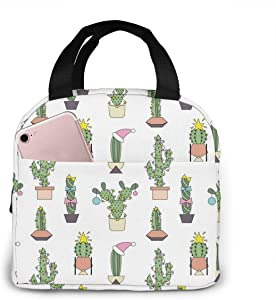 Christmas Cactus Lunch Tote Bag Small Green Plant Zipper-Sealed Leak-Proof Portable Thermal Insulation Bag Front Pocket For Work Travel Picnic Kitchen And Restaurant