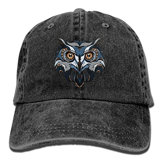 eb40b9a3860 ONE-HEART HR Cool Owl Head Creative Baseball Caps Denim Adjustable Hats at  Amazon Men s Clothing store