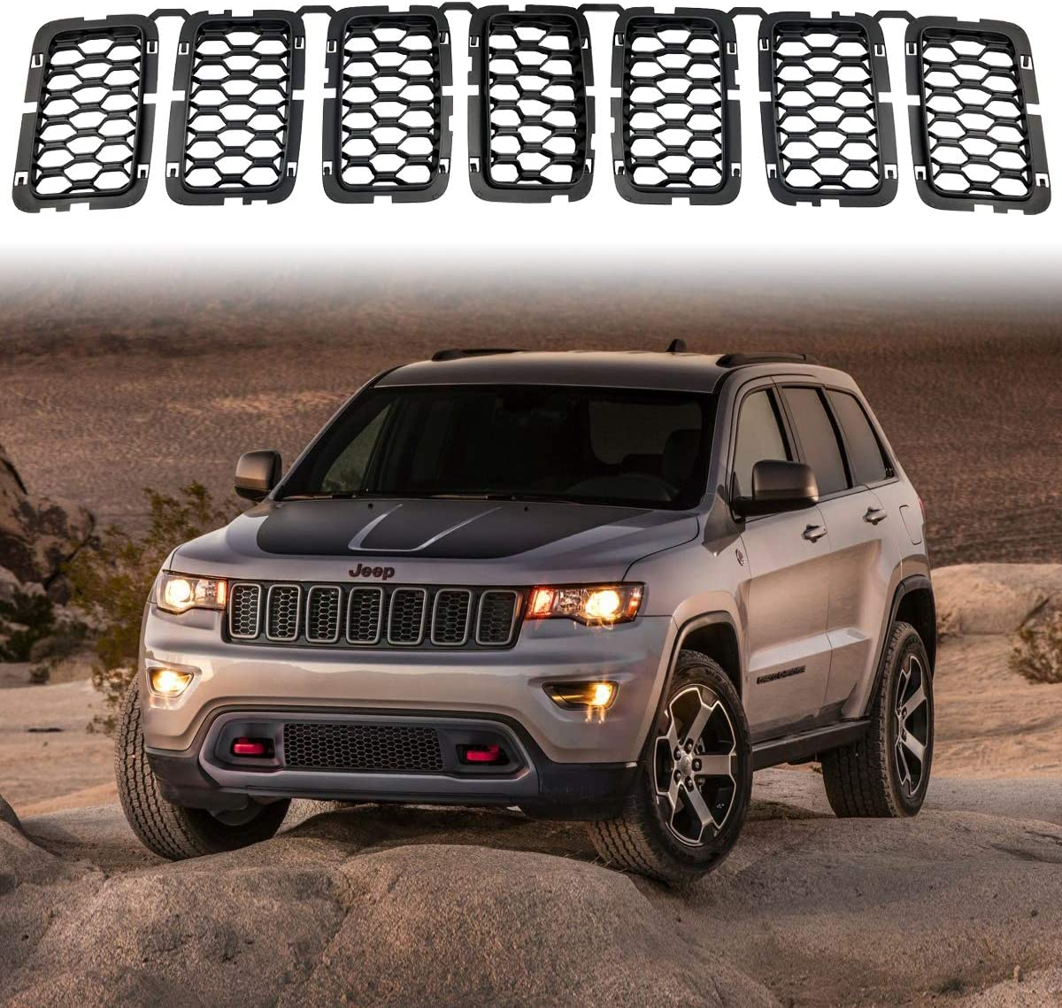 Black Grand Cherokee >> Latest Honeycomb Matte Mesh Black Front Grill Inserts Fits Jeep Grand Cherokee 2017 2018 2019 2020 7pc