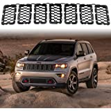 Matte Black Honeycomb Front Grill Inserts Mesh Grille Fits 2017, 2018, 2019, 2020 Jeep Grand Cherokee 7PCs