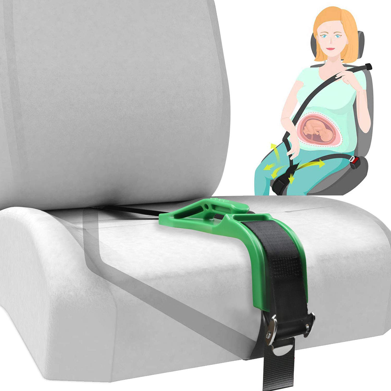 Pregnancy Seat Belt Adjuster,Baby Bump Car Seat Belt for Maternity,Safety /& Comfortable for Pregnant Women Belly, Protect Unborn Baby(Black