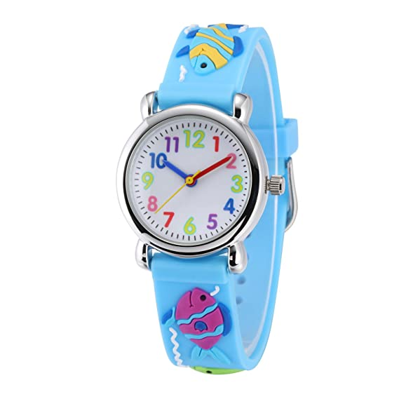 Bonito reloj analógico para niños y niñas de 3 a 8 años Jewtme, para que aprendan a leer la hora, con correa de silicona y dibujos.: Amazon.es: Relojes