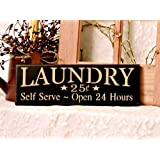 """Laundry Country Sign, Laundry Room Sign, Country Decor, Wall Decor, Primitive, 4"""" x 12"""", black background with cream lettering"""