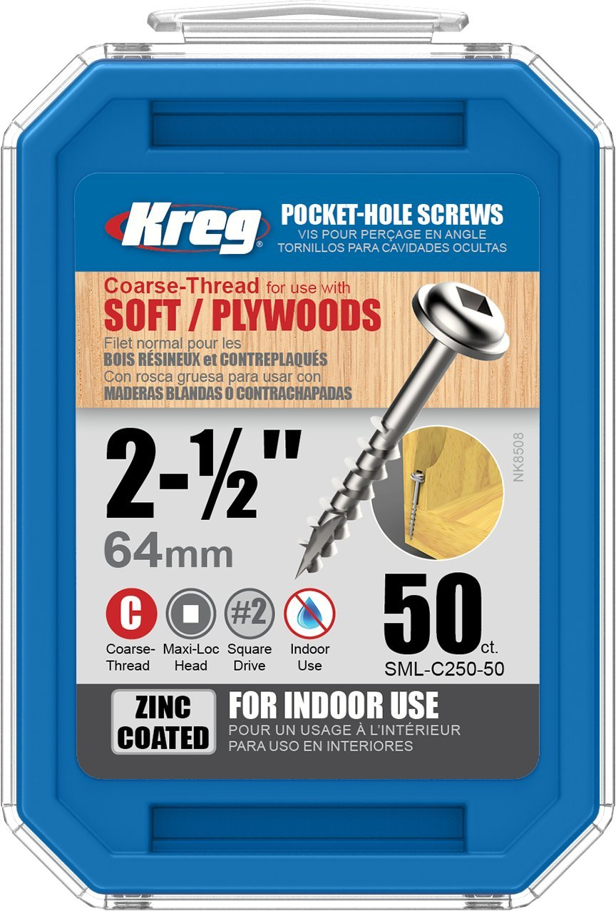 "KREG No 8 x 2/"" 50 Packet Blue Kote Pocket-Hole Screws Washer Head Co"