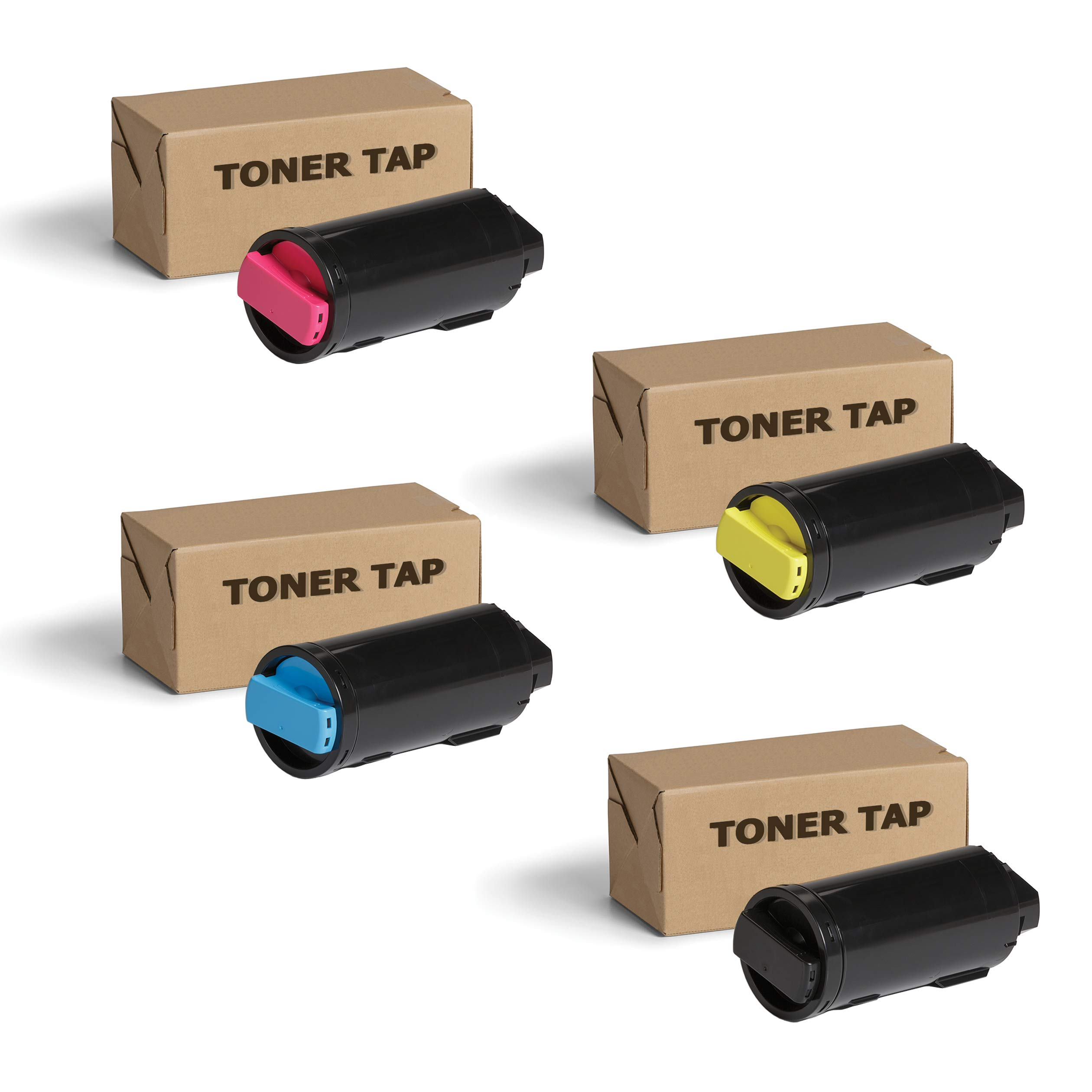 Toner Tap for Xerox Versalink C500 C500/DN C500/N C505 C505/DN C505/N Color Printers (4 Pack Bundle) - High Yield Compatible Toner Cartridge Set (OEM Part# 106R03862, 106R03863, 106R03864, 106R03865)