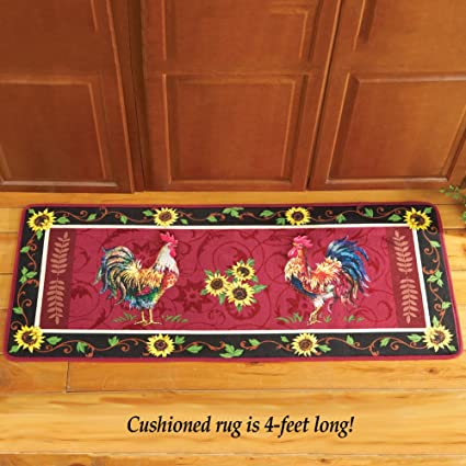Amazon.com: Cushioned French Country Rooster Rug: Home & Kitchen