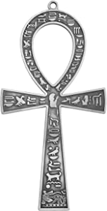 NileCart 7 in. large metal Egyptian ANKH Cross Made in Egypt with an ancient Egyptian hieroglyphic symbols on both sides (Antique SilverTone)