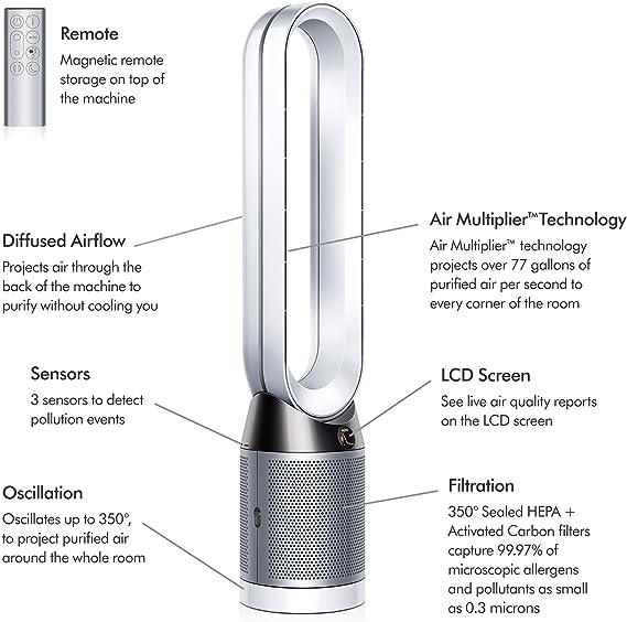 Dyson Pure Cool, TP04 - Purificador de aire HEPA y ventilador de torre, blanco/plateado: Amazon.es: Hogar
