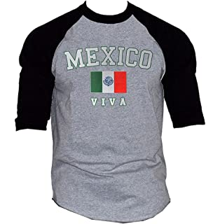 Mens Viva Mexico Flag Gray/Black Raglan Baseball T-Shirt Gray/Black