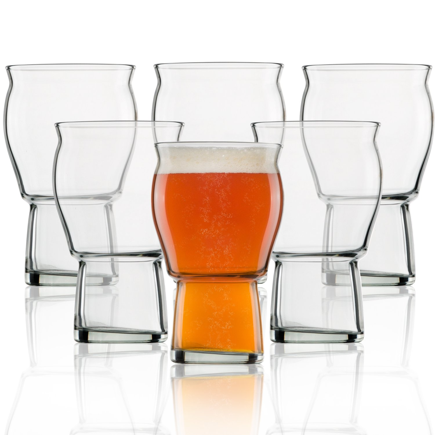 A Beer Glass for Beer Drinkers - Nucleated Pint Glasses for Better Head Retention, Aroma and Flavor - 16 oz Craft Beer Glass IPA for Beer Drinking Bliss - Gift Idea for Men - 6 Pack