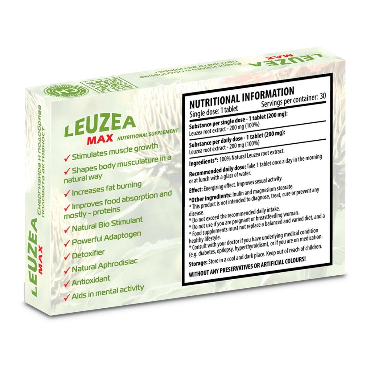 Leuzea Max - 30 tabletas x 200 mg de extracto de hierbas naturales, fuerza, resistencia, combustible muscular, músculo magro anabólico y aumento de masa y ...